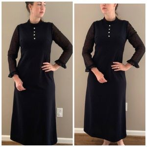 Dresses & Skirts - Vintage 1970's black maxi dress crochet sl…